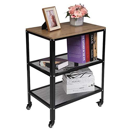 Oshion Carrito de cocina de 3 niveles, carrito de cocina con ruedas, carrito de almacenamiento para horno de pie, con marco de metal para sala de estar, color gris