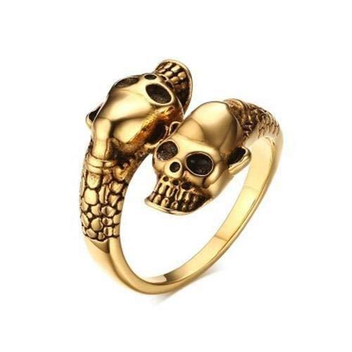 Wagrass Anillos antiguos de calavera para hombre y mujer, estilo gótico, punk, de acero inoxidable, anillo de serpiente, abierto, ajustable, joyería de cabeza de calavera (piedra principal: oro)