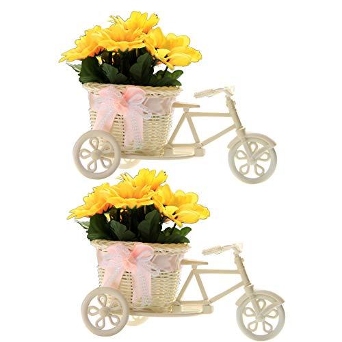 Flikool 2pcs Künstliche Rattan Dreirad Fahrrad Blumenkorb Vase mit Sonnenblumen Dekorative Blumengestecke Seidenblume Künstliche Pflanze im Topf Kunstblumen Kunstpflanzen für Hause Hochzeit-Weiß