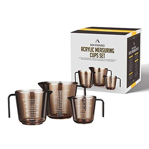 Mayward Messbecher, 3-teiliges Acryl-Küchenutensilien-Set mit Skala von Tasse, Unze und Milliliter, Lebensmittelqualität, BPA-frei (Becher)