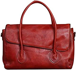 FYXKGLa Women's Genuine Leather Handbag Retro Hand-Brushed Shoulder Bag Leather Messenger Bag (Color : Rosy)