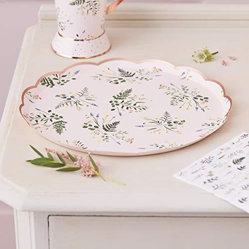 Ginger Ray Platos de papel laminados en oro rosa para fiesta de té por la tarde, 8 unidades