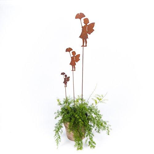 ecosoul Décoration de jardin en forme d'elfe avec feuille sur tige - En métal rouillé - 78 cm