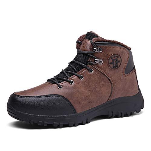 Veluckin Winterschuhe Herren Gefüttert Trekking Schuhe Stiefel Outdoor Warm Wanderschuhe,Brown,41EU