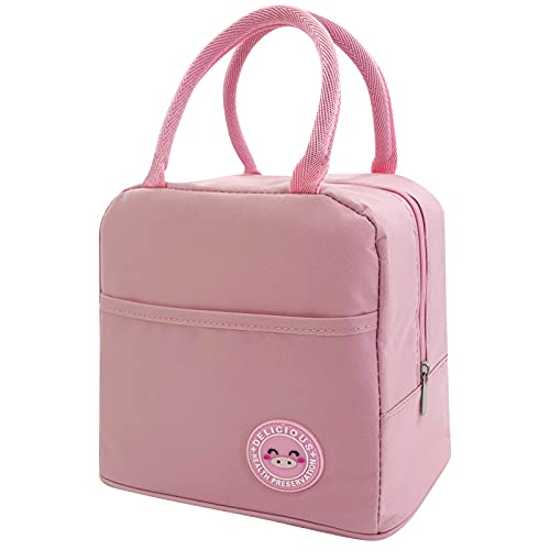 Mziart Insulated Lunch Bag, Cute Reusable Lunch Tote Bag with Pocket, Lunch Box Organizer Lunch Cooler Bag for Women/Men (Pink)