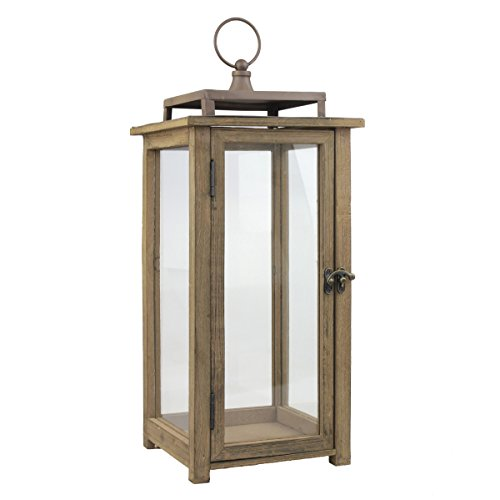 Stonebriar 18 Inch Rustic Wooden Candle Hurricane Lantern, For Table Top, Mantle, Wall Hanging, or Garden Display, Indoor & Outdoor Use, Extra Large