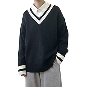 Habor メンズ セーター Vネック チルデン ニット セーター ケーブル編み トップス カジュアル オーバーサイズ スクール