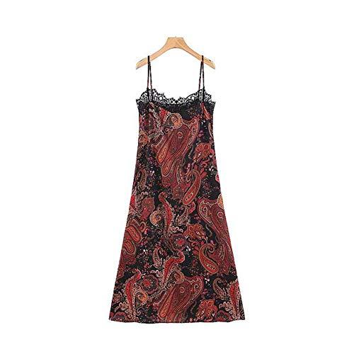 DELI Frauen V-Ausschnitt Paisley Print Midi Dress Spitze Verstellbare Straps Ärmellose Weibliche Beiläufige Mittlere Waden Kleider Chic