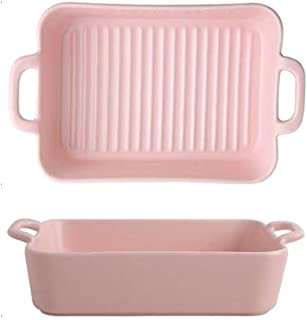 Rectangle Bakeware Ceramic Baking Pan Lasagna Glaze Baking Dish for Cooking, Kitchen, Cake Dinner, Banquet and Daily Use(P...