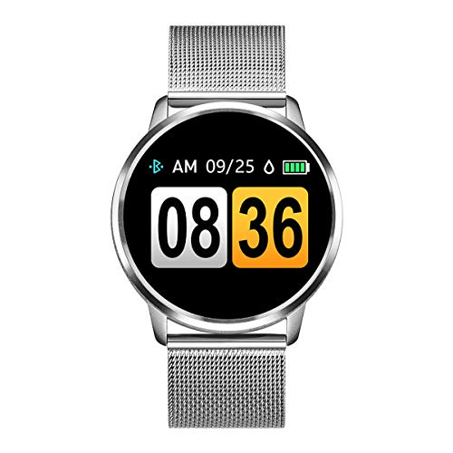 Rundoing Smart Watch OLED Farbdisplay Smartwatch Herren Damen Fitness Tracker Pulsmesser für APP H Band, Silber Stahlband