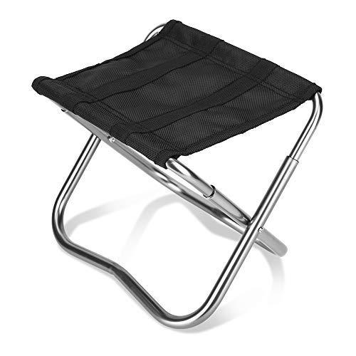 Mini taburete plegable portátil, taburete para acampar Silla plegable ligera para campamento...