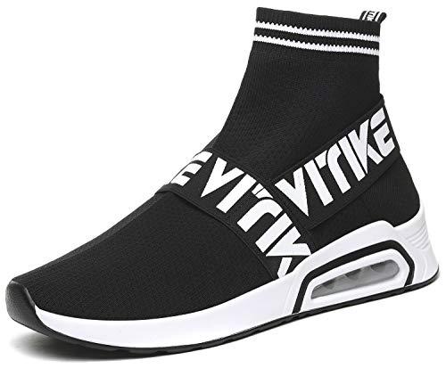 Elaphurus Damen Sneaker Leichte Turnschuhe Slip-on Hallenschuhe Socks Schuhe Gymnastikschuhe, 1 Schwarz, 37 EU