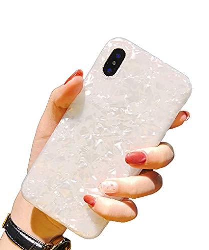 Handyhülle Kompatibel mit iPhone XS Max Hülle Kratzfest Schutzhülle Bling Bling Shell TPU Weich Silikon Bumper Case für iPhone XS MaxWeiße Muschel iPhone XS Max