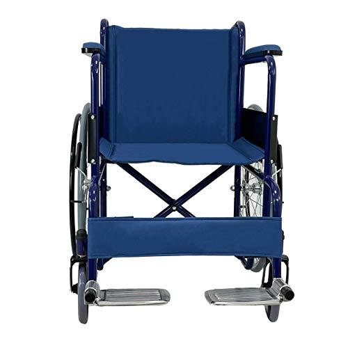 Carrozzina disabili pieghevole e leggera-Sedia a Rotelle per anziani-In acciaio cromato blu-Auto spinta-Larghezza 63 cm-Leva per gradini-Peso max100kg