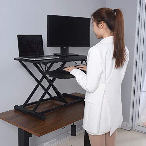 SMCOOL Stand Up Desk Converter Puede Levantar El Escritorio De La Computadora Portátil Escritorio Portátil Banco De Trabajo Plegable Quick Sit To Stand Tablero De La Mesa Dual Monitor Riser Black