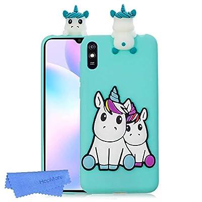 HopMore Funda para Xiaomi Redmi 9A Silicona Flexible Blando Divertidas Animal Carcasa Funda Redmi 9A Dibujo 3D Soft Case Ultrafina Cover Gracioso - Unicornio Verde