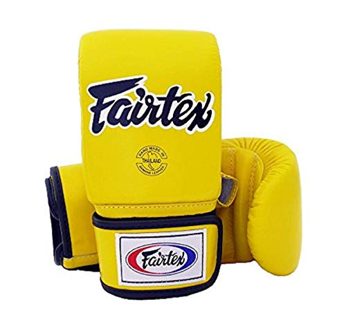 Fairtex Muay Thai Bag Gloves TGO3 TGT7 Color: Black Red Blue White Yellow Size: Medium Large Training & Sparring Bag Boxing Gloves for Kick Boxing MMA K1 (TGO3 - Yellow, Medium)