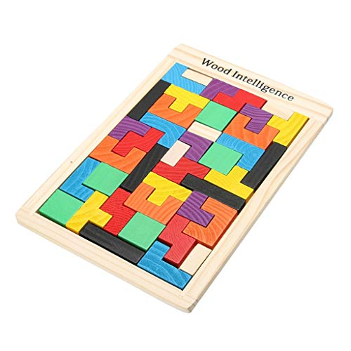 MXueei Puzzle en Bois Tetris Bloque Tangram Jouets Conseil de Puzzle Teaser, 40 Pcs Building Block Enfants Toddlers Early Education Intelligence Toy