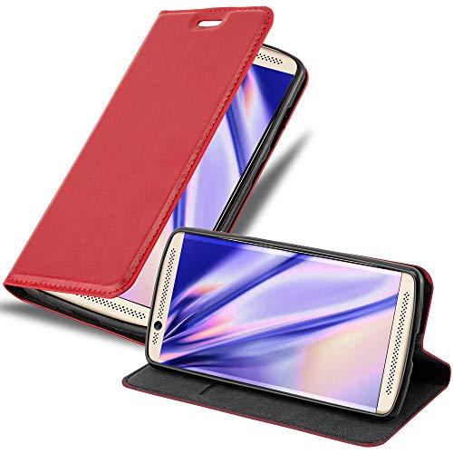 Cadorabo Hülle für ZTE AXON 7 Mini - Hülle in Apfel ROT – Handyhülle mit Magnetverschluss, Standfunktion & Kartenfach - Hülle Cover Schutzhülle Etui Tasche Book Klapp Style