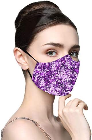Womens Sequin Face Cover Mask Reusable Sparkly Fashion Glitter Bling Party Club Filter Mouth Balaclavas