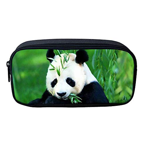 Panda Pencil Bags for Girls Kids Canvas Pen Case Zipper Soft Stationery Pouch Makeup Cosmetic Bag