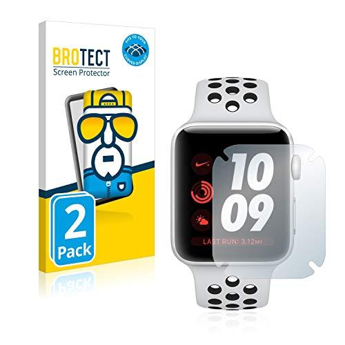 BROTECT Protector Pantalla Completa Compatible con Apple Watch Nike Plus Series 3 (42 mm) (2 Unidades) 3D Curvo