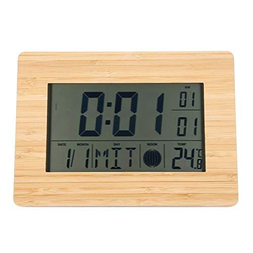 Minuterie de Cuisine, réveil Mural numérique LCD avec réveil Table de thermomètre Horloges de Chevet Minuteries électriques Multifonctions pour la Cuisson