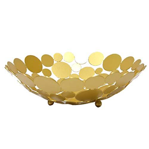 CJFael Cesta de decoración para el tazón de fruta, plato redondo de hierro, cesta de almacenamiento de alimentos, mesa de caramelos, decoración del hogar, color dorado
