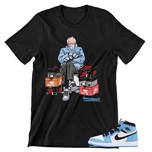 Jordan 1 University Blue Graphic Men's T-Shirt (Jordan 1 University Blue Bernie Meme Black, X-Large)