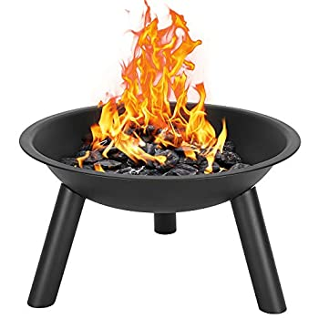 Henf 22 Inch Fire Pit Bowl Outdoor Wood-Burning Iron 3 Legs for Patio Backyard and Camping Black
