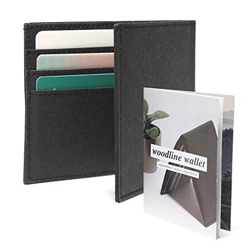 Woodline - minimal Wallet | Flache & vegane Papier Geldbörse | mit RFID Schutz & Münzfach | Reise Portemonnaie |für Damen, Herren (Schwarz)