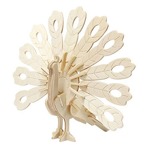 Creativ Company Figurine À Assembler en 3D, Paon, 10x20,5x17,5 cm