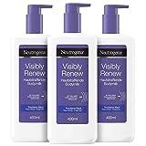 Neutrogena Visibly Renew Hautstraffende Bodymilk, sofort einziehende Bodylotion für langanhaltende und intensive Feuchtigkeit (3 x 400 ml)