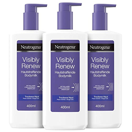 Neutrogena Norwegische Formel Bodylotion, Visibly Renew Hautstraffende Bodymilk, für trockene Haut, 3 x 400ml