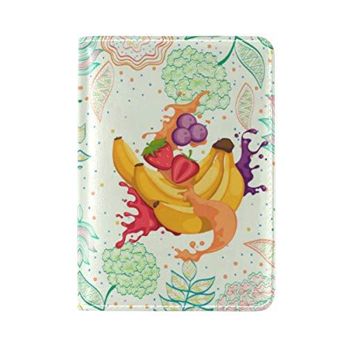 Blütenobst Bananensaft Reisepass Reisepasshülle Ausweis Hülle Echtes Leder Hülle Schutzhülle für Reisen Männer Frauen