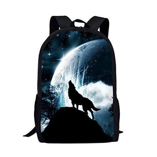 POLERO Rucksack Schulrucksack Kinderrucksack Schultasche Daypack Backpack mit Wolf Print für Kinder Student Junge Schule