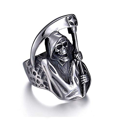 Vintage Punk Style Grim Reaper Skull Ring Stainless Steel Never Fade Individuality Biker Ring for Men Gift Jewelry 13 Silver