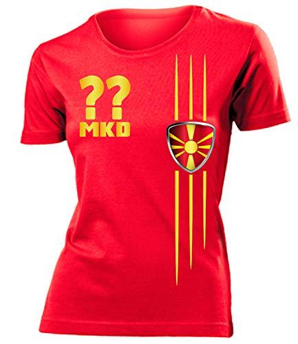 Mazedonien Macedonia Wunsch Zahl Fanshirt Fussball Fußball Trikot Look Jersey Damen Frauen t Shirt Tshirt t-Shirt Fan Fanartikel Outfit Bekleidung Oberteil Hemd Artikel