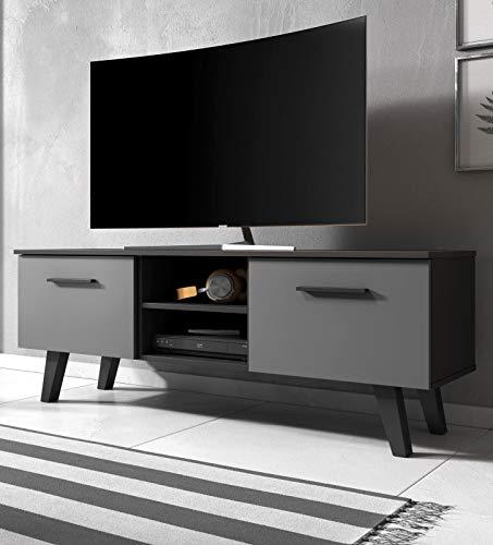 Jenrik TV Lowboard skandinavisch TV Unterteil 140 x 52 cm Fernsehtisch (schwarz/grau)