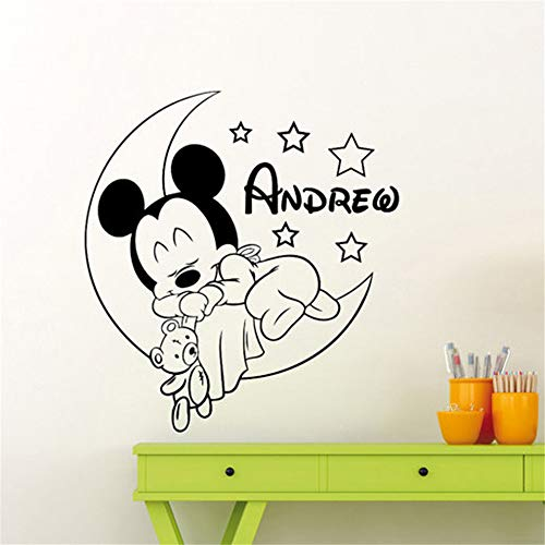 pegatina de pared 3d Mickey Mouse Etiqueta de La Pared Decal Mickey Mouse Vinilo Pegatinas de Pared para Niños Habitación Nombre Personalizado Nursery Decor Decal Bebé dormitorio