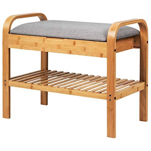 COSTWAY Schuhbank mit Sitzkissen Ablage, Schuhregal Tragkraft 150 kg, Sitzbank Bambus, Schuhschrank Polsterbank für Schlafzimmer, Wohnzimmer, Flur (60 x 34 x 50 cm mit Stauraum)