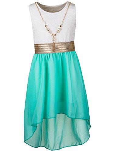 Unbekannt Kinder Sommer Fest Kleid für Mädchen Sommerkleid Festkleid mit Kette in vielen Farben M288wgn Weiss Grün Gr. 16/164
