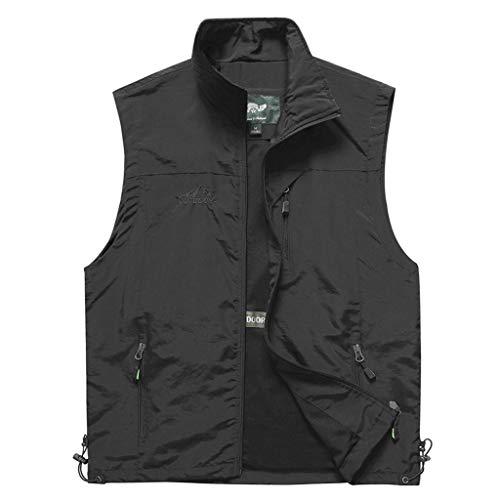 Weste Herren Weste Tasche Weste Mode Weste Multi-Pocket Weste Outdoor-Jacke (Farbe : Schwarz, größe : 4XL)