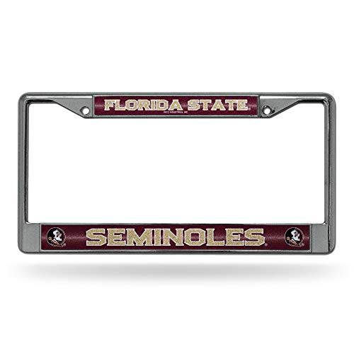 NCAA Rico Industries Bling Chrome License Plate Frame with Glitter Accent, Florida State Seminoles