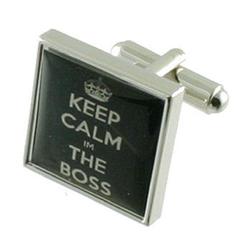 Keep Calm Boss Design lourde solide Argent sterling 925 Boutons de manchette + cadeau personnalisé Message Boîte à boutons de manchette