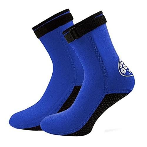 NIDONE Calcetines Botas De Buceo Surf Nado 3 Mm De Neopreno Antideslizante Aletas Calcetines para Hombres Mujeres Buceo Snorkel Deporte Agua Azul S 1 Par