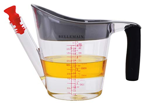 Bellemain 4Cup Fat Separator / Measuring Cup with Strainer amp Fat Stopper / 1 Liter Capacity