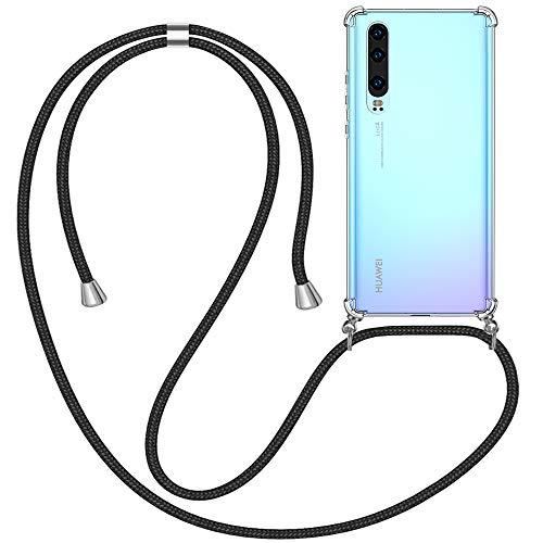 omitium Funda con Cuerda Compatible con Huawei P30, Carcasa Transparente Huawei P30 Correa Cover con Correa Colgante Ajustable Case [Moda y Practico] TPU Carcasa Cuerda Huawei P30