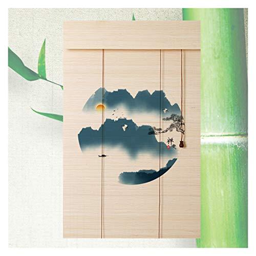 Persiana Bambú, Decoración Hogar Impresión Clásica Ventilación Persianas Filtrado Luz Semi-privacidad, 2 Estilos, Varios Tamaños PENGFEI (Color : A, Size : 110cmX225cm)