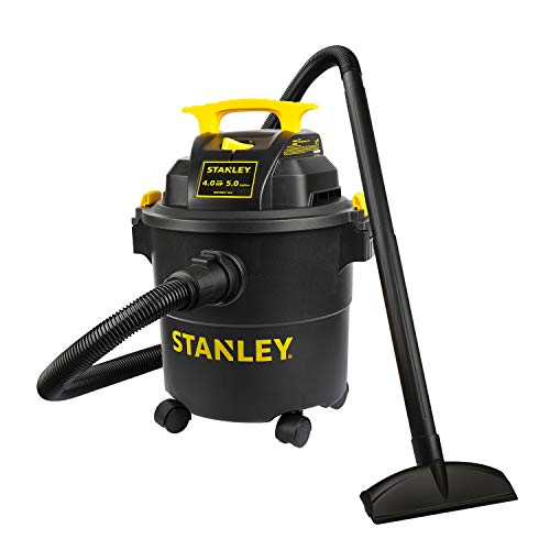 Stanley Shop Vac SL18115P, 5 Gallon Peak 4 Horsepower Wet Dry Vacuums, Blower 3 In 1 Functions 15 Feet Cleaning Range For Garage, Carpet Clean, Shop Cleaning, Car Detailing with Attachments